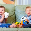 Cute little baby boys playing toys at home — Foto Stock