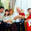 Stock Photo: Big family at home