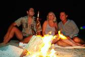 ευτυχής φίλους, διασκεδάζοντας τους γύρω από την φωτιά — Φωτογραφία Αρχείου