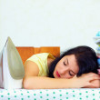 Tired housewife fell asleep after exhaustive ironing — Stock Photo