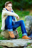 Portrait of teenage boy, colorful outdoors — Stockfoto