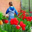 Little baby running the colorful spring garden — Stock Photo