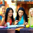 Beautiful college girls studying outdoors — Stock Photo #21846807