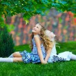 Beautiful girls sisters enjoying colorful nature, outdoors - Foto de Stock  
