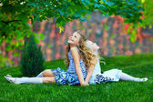 Beautiful girls sisters enjoying colorful nature, outdoors — Stock Photo