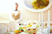 Set table in luxury restaurant — Stock Photo
