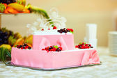 Colorful tasty berry cake — Stock Photo