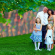 Beautiful family portrait, colorful outdoors — Stock Photo