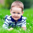 Happy baby boy lying on green grass in park — Stock Photo