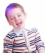 Laughing baby boy isolated, positive emotion — Stock Photo