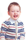 Happy laughing baby boy isolated on white — Stock Photo