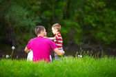 Father and son relationships, colorful nature — Stock Photo