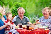 Happy family together on picnic, summer outdoors — Stock Photo