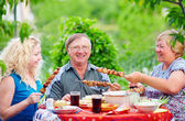 Happy family together on picnic, summer outdoor — Stock Photo