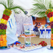 Colorful fruit and cake decoration on banquet party — Stock Photo #26430139