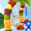 Colorful fruit and cake decoration on banquet party — Stock Photo