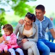 Happy family outdoors — Stock Photo