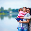 Happy family portrait, outdoors — Stock Photo