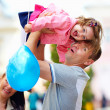 Happy father and baby girl having fun, outdoors — Stock Photo #26593409