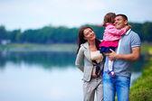 Happy family portrait, outdoors — Stock Photo