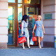 Two elegant women shopping in city mall - Stock Photo