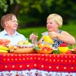 Stock Photo: Happy mature couple having lunch outdoors
