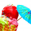 Tasty colorful melting ice cream isolated — Stock Photo