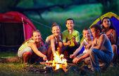 Grupo de crianças felizes, assar marshmallows na fogueira — Foto Stock