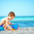 Cute kid playing on the sea beach — Stock Photo #28908949