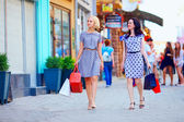 Due donne eleganti città variopinta di strada a piedi — Foto Stock