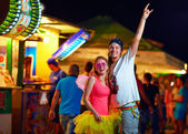 Freak people having fun on music festival. youth culture — Stock Photo
