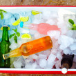 Chilled colorful beverages in ice box. summer party — Stock Photo