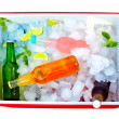 Chilled colorful beverages in ice box. summer party — Stock Photo #29945059