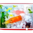 Stock Photo: Chilled colorful beverages in ice box. summer party