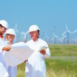 Scientists discussing project on wind power station — Stock Photo