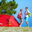 Young people camping in mountains — Stock Photo