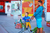 Father and son with trolley after shopping — Foto de Stock