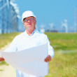 Researcher working on project on wind power station — Stock Photo