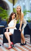 Beautiful elegant ladies in modern dresses — Stock Photo