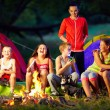 Happy kids telling interesting stories around campfire — Stock Photo #35148709