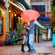 Happy couple having fun on colorful street — Stock Photo #39011453
