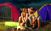 Teenagers flirting in summer camp — Stock Photo