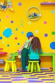 First love in kindergarten, relationships between kids — Stock Photo