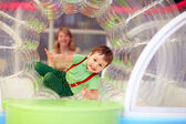Excited kid having fun on playground — ストック写真