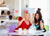 Plus size women friends enjoying life, having fun in cafe — Stock Photo