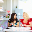 Plus size women sitting in cafe — Stock Photo #44563713