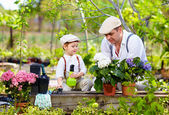 Father and son care for plants in the garden — Stock Photo