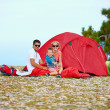 Happy family camping in mountains — Stock Photo #46102207