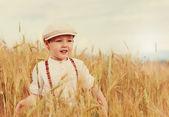 Happy boy walking the wheat field — Stock Photo