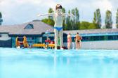 Happy kid boy ready to jump in pool — Stock Photo